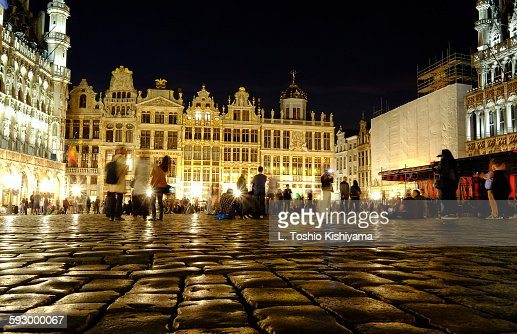 Grand place at night in Brussels, Belgium