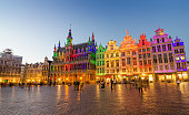 Grand Place with colorful lighting at Dusk in Brussels, Belgium