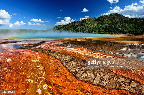 Grand Prismatic Spring and Mountain