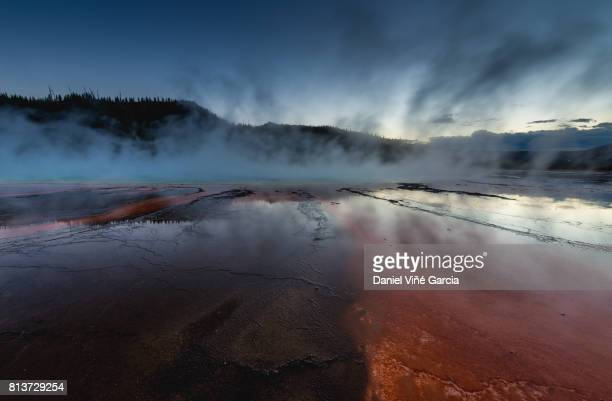 Grand Prismatic Spring at sunset, Midway Geyser Basin, Yellowstone National Park.