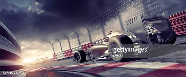 Grand Prix High Speed Racing Car On Racetrack At Sunset