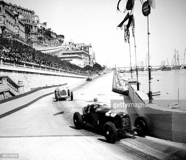 Grand Prix of Monaco April 1933 Tazio Nuvolari Italian driver on AlfaRomeo 8 C 2600 before Varzi winner on Bugatti 51