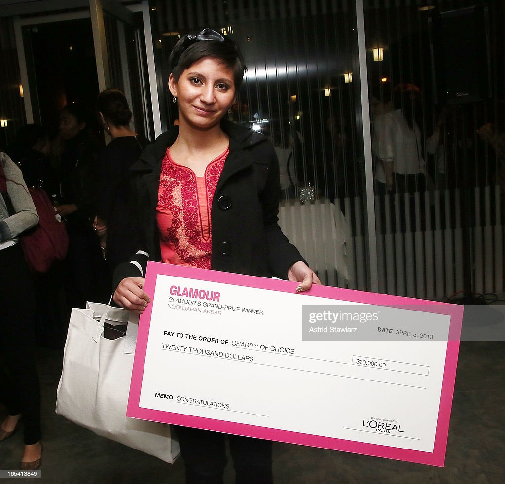 Grand prize recipient, Noorjahan Akbar poses for photos during the Glamour And L'Oreal Paris Celebration for the Top Ten College Women at The Diana Center At Barnard College on April 3, 2013 in New York City.