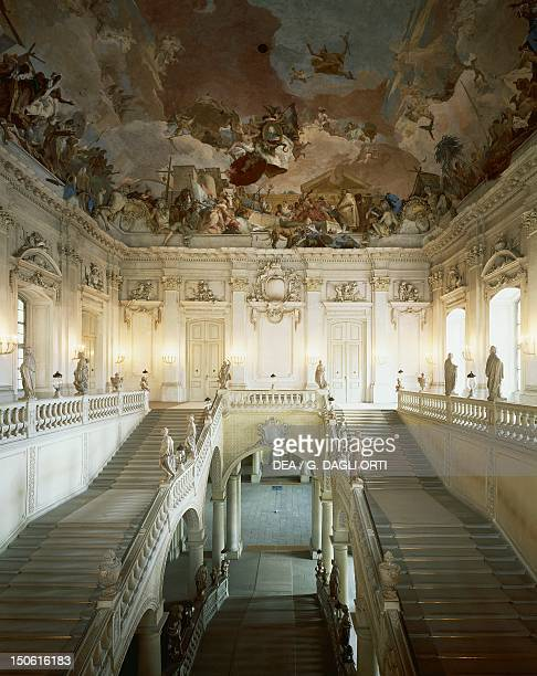 Grand Staircase with frescoed vault by Giovanni Battista Tiepolo Wurzburg Residence Germany by architect Johann Balthasar Neumann