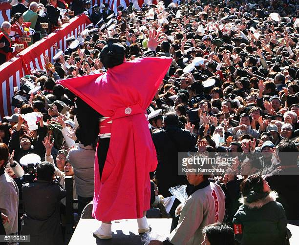 Grand sumo champion Asashoryu throws beans at Shinshoji Temple to celebrate the coming of spring based on the lunar calender on February 3 2005 in...