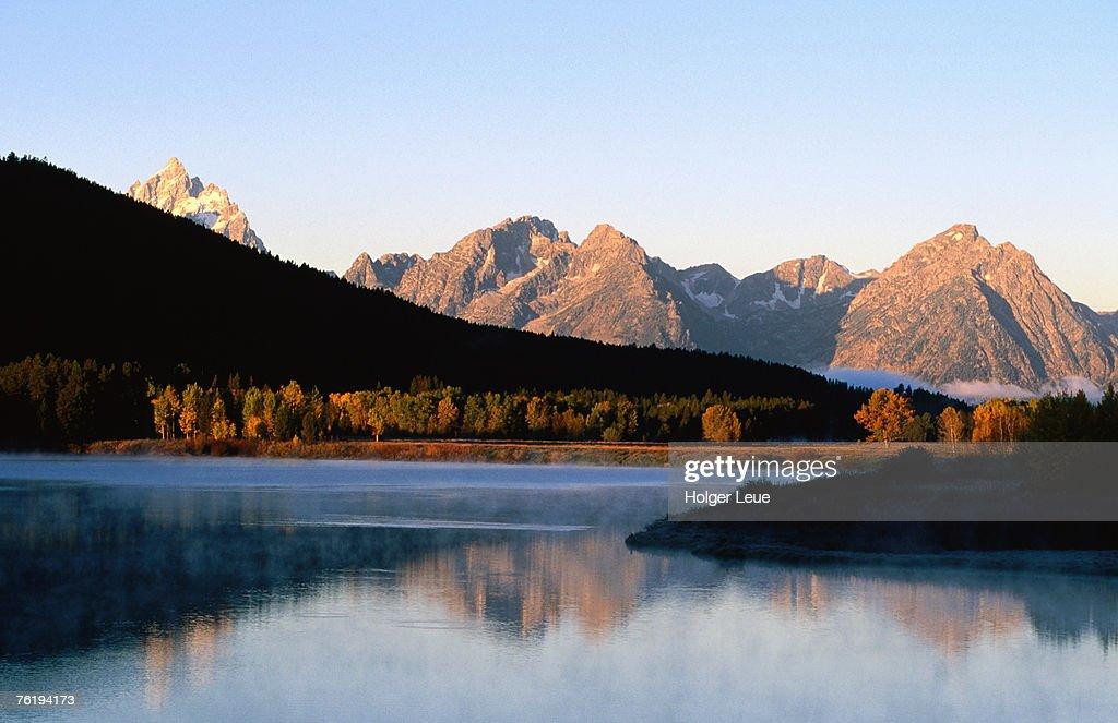 Grand Teton at sunrise, from Oxbow Bend, Grand Teton National Park, Wyoming, United States of America, North America : Stock Photo
