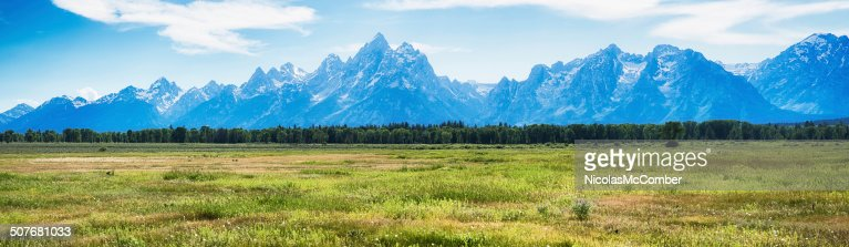 Grand Teton mountain range panoramic view