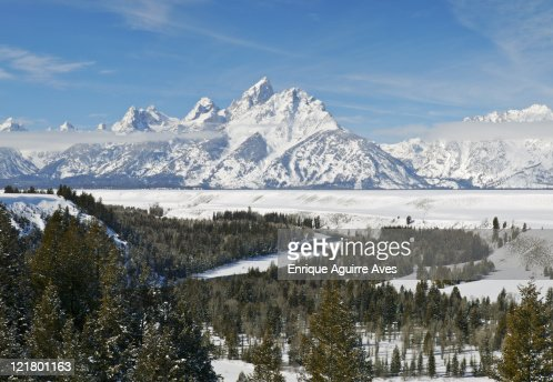 Grand Tetons in winter, Grand Teton National Park, Wyoming, USA : Stock Photo