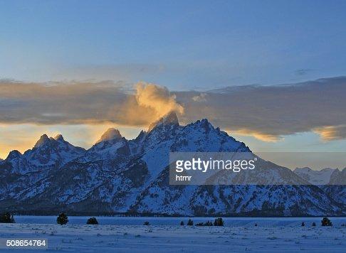 Grand Tetons Lenticular Cloud Twilight Sunset in Wyoming : Stock Photo
