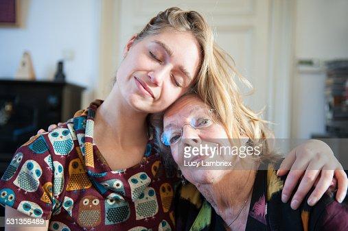 Grandchild holding grandmother