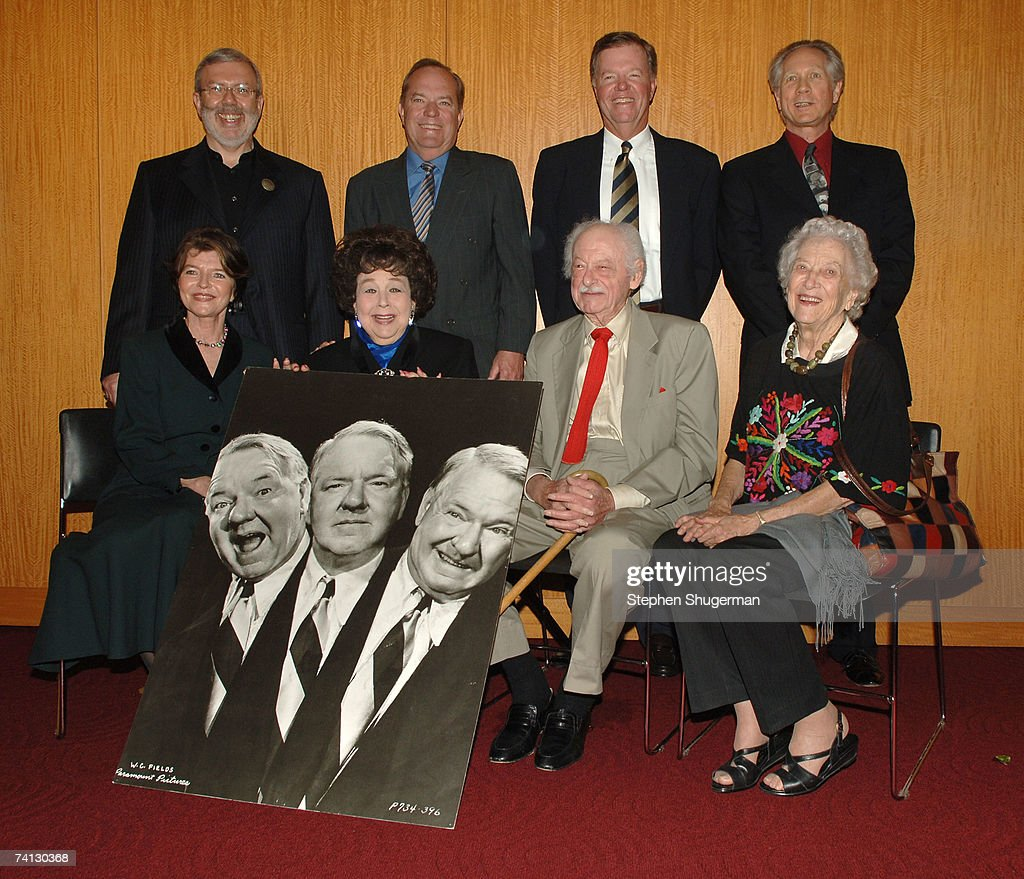 Grandchild of W.C. Fields Harriet Fields, actor Jane Withers, producer Hal Kanter and actor Jean Rouverol Butler;(L-R, back row) film critic Leonard Maltin, grandchild of W.C. Fields Ronald Fields, grandchild of W.C. Fields Allen Fields and author Joe Adamson attend a celebration of comedic icon W. C. Fields at the Academy of Motion Picture Arts and Sciences on May 11, 2007 in Beverly Hills, California.