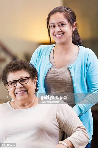 Granddaughter helps granddaughter in nursing home