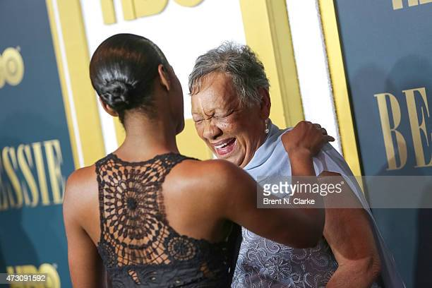 Granddaughter of Bessie Smith Beverly Ann Clarke is greeted by actress Tika Sumptner at the New York screening of 'Bessie' held at The Museum of...
