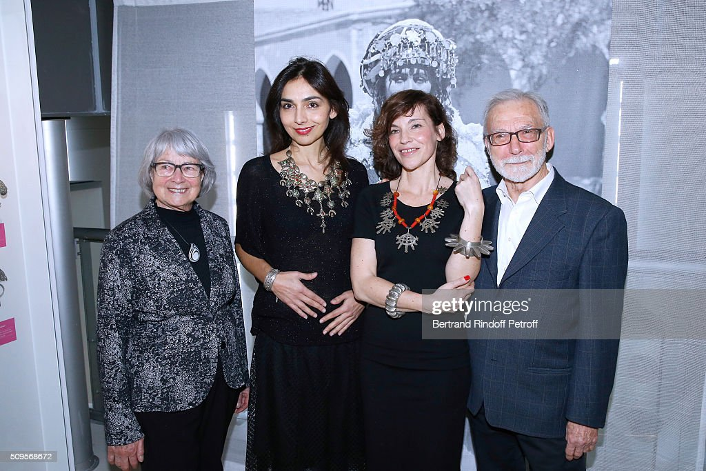 Granddaughter of Django Reinhardt, Pianist Charlotte Reinhardt and Actress Elodie Mennegand standing between Jewelry Collectors Jean-Francois Bouvier and his wife Malou attend the Opening of the Exhibition 'Tresors à porter', Treasures to wear, presented in the Museum of the 'Institut du Monde Arabe' on February 11, 2016 in Paris, France.