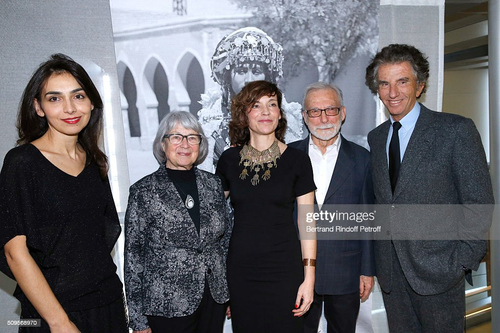 Granddaughter of Django Reinhardt, Pianist Charlotte Reinhardt (L), President of the 'Institut du Monde Arabe' <a gi-track='captionPersonalityLinkClicked' href=/galleries/search?phrase=Jack+Lang&family=editorial&specificpeople=220296 ng-click='$event.stopPropagation()'>Jack Lang</a> (R), Actress Elodie Mennegand (C), wearing jewelry of the Collection, Jewelry Collectors Jean-Francois Bouvier (2nd R) and his wife Malou (2nd L) attend the Opening of the Exhibition 'Tresors à porter', Treasures to wear, presented in the Museum of the 'Institut du Monde Arabe' on February 11, 2016 in Paris, France.