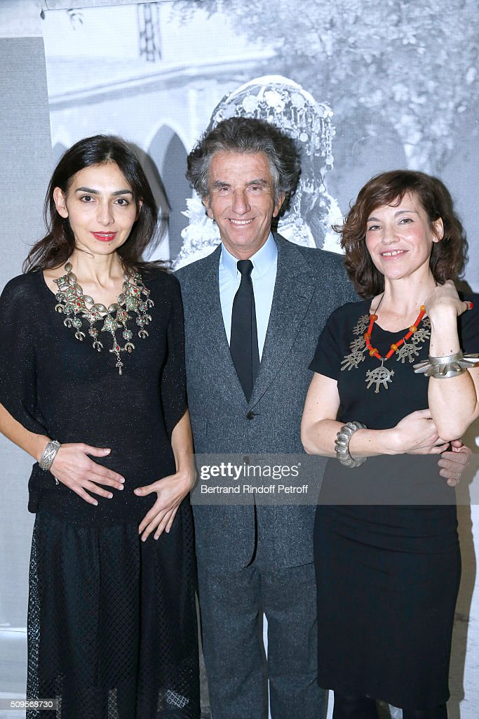 Granddaughter of Django Reinhardt, Pianist Charlotte Reinhardt, wearing jewelry of the collection, President of the 'Institut du Monde Arabe' Jack Lang and Actress Elodie Mennegand, wearing jewelry of the collection, attend the Opening of the Exhibition 'Tresors à porter', Treasures to wear, presented in the Museum of the 'Institut du Monde Arabe' on February 11, 2016 in Paris, France.