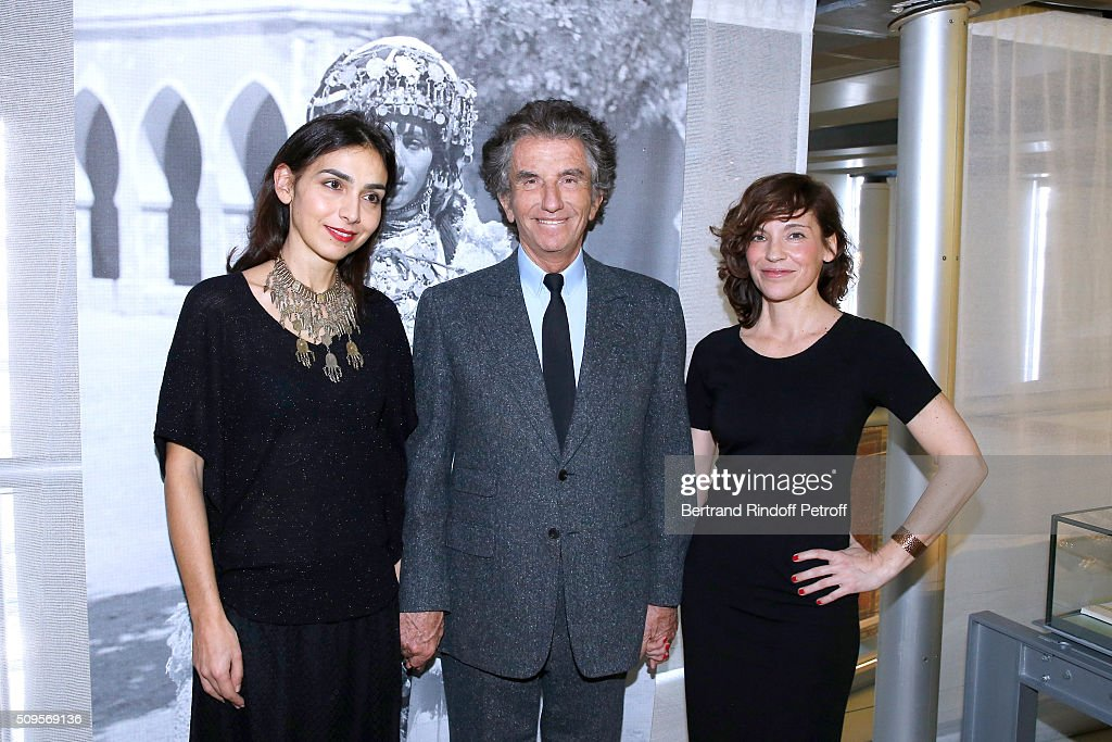 Granddaughter of Django Reinhardt, Pianist Charlotte Reinhardt, wearing jewelry of the Collection, President of the 'Institut du Monde Arabe' <a gi-track='captionPersonalityLinkClicked' href=/galleries/search?phrase=Jack+Lang&family=editorial&specificpeople=220296 ng-click='$event.stopPropagation()'>Jack Lang</a> and Actress Elodie Mennegand attend the Opening of the Exhibition 'Tresors à porter', Treasures to wear, presented in the Museum of the 'Institut du Monde Arabe' on February 11, 2016 in Paris, France.