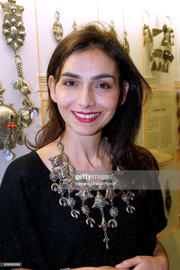Granddaughter of Django Reinhardt, Pianist Charlotte Reinhardt, wearing jewelry of the collection, attends the Opening of the Exhibition 'Tresors à porter', Treasures to wear, presented in the Museum of the 'Institut du Monde Arabe' on February 11, 2016 in Paris, France.