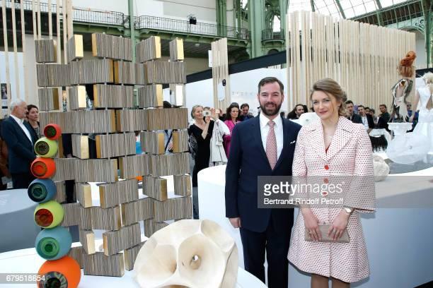 GrandDuc Heritier Guillaume and GrandeDuchesse Heritiere Stephanie De Luxembourg attend the 'Revelations' Fair at Balcon d'Honneur du Grand Palais on...