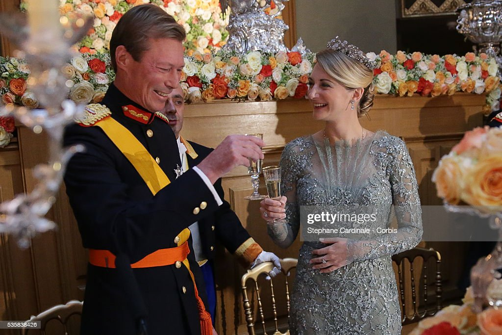 Grand-Duke Henri of Luxembourg and Princess Stephanie of Luxembourg attend the Gala dinner for the wedding of Prince Guillaume of Luxembourg and Stephanie de Lannoy at the Grand-ducal Palace, in Luxembourg.