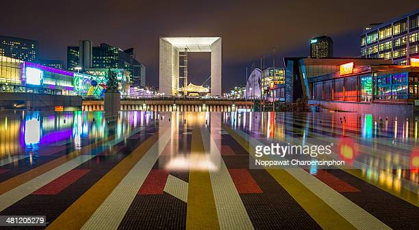 Grande Arche La Defense Paris at night