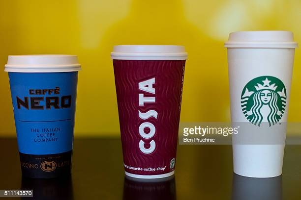 A grande Cafe Nero large Costa Coffee and venti sized Starbucks take away cup on February 18 2016 in London England Yesterday Action on Sugar...