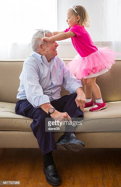 Grandfather and Granddaughter Play Dress up
