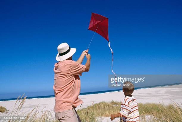 Grandfather and grandson (3-5) flying kite, rear view