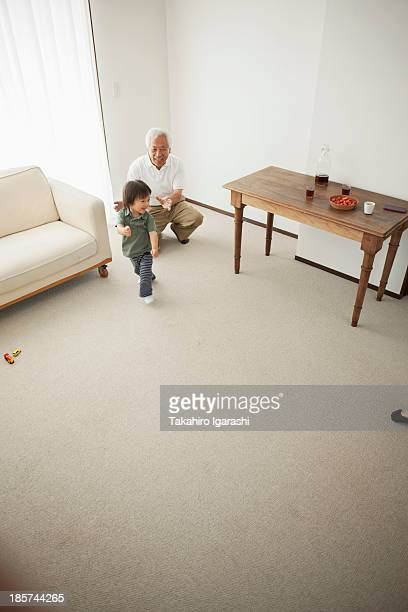 Grandfather and grandson in living room,  high angle
