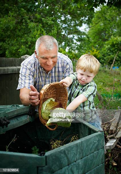 Grandfather and Grandson on allotment