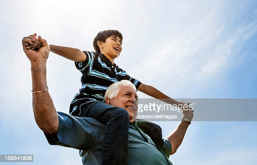 Grandfather and Grandson on Shoulders