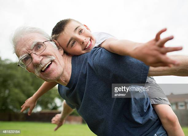 Grandfather spending time with his granchild
