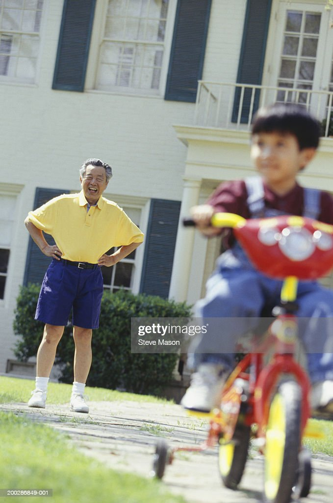 Grandfather watching grandson (3-4) riding bicycle in garden : Stock Photo