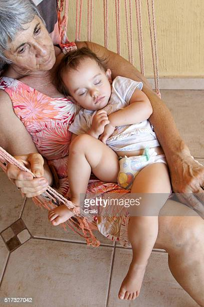 Grandma and her granddaughter resting