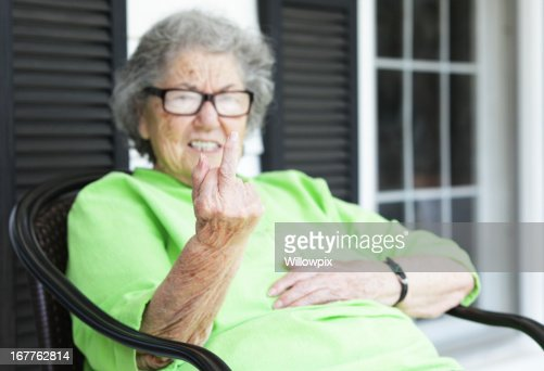 Grandma Flipping the Bird From Her Front Porch