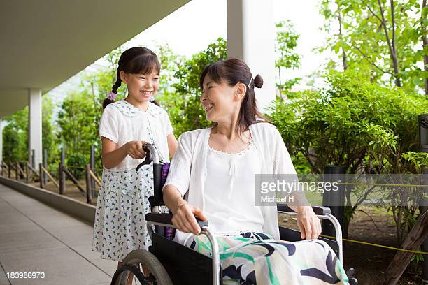 Grandma get on the wheelchair and the grandchild