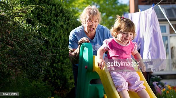 Grandma having fun with grandaughter