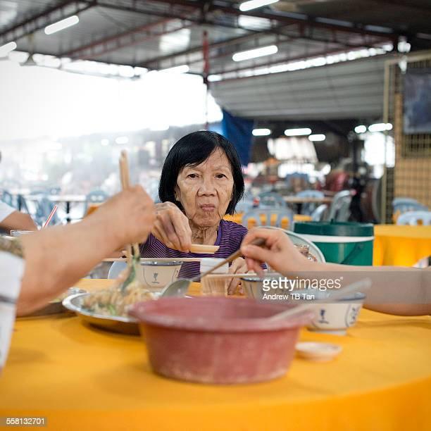POV - Grandma having meal with family