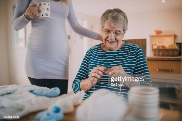 Grandma Knitting Baby Clothes