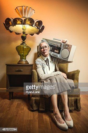 Grandma with Hip Hop Stereo