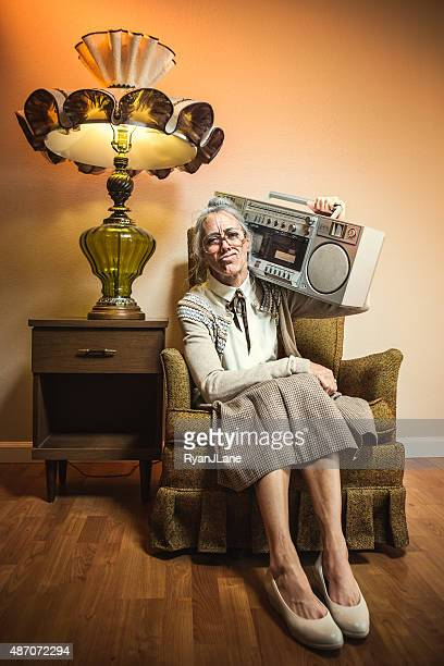 Grandma with Hip Hop Stereo