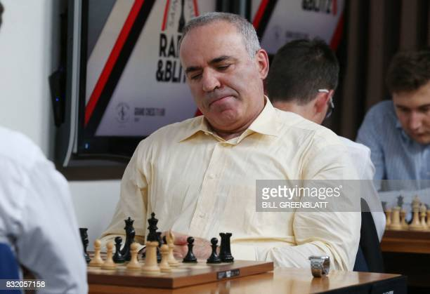 Grandmaster chess player Garry Kasparov is unsure of his move during a match against grandmaster Levon Aronian during day two of the Grand Chess Tour...