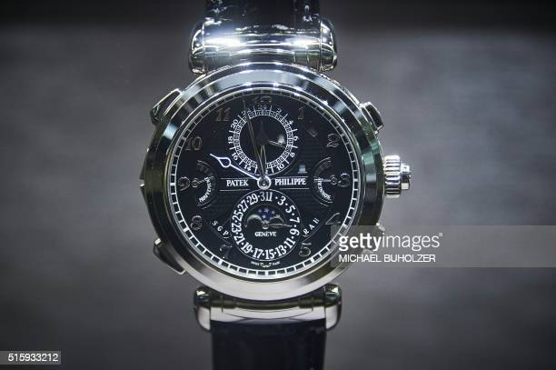 Grandmaster Chime wristwatch of Swiss watchmaker Patek Philippe is displayed at the watch industry's biggest annual trade fair 'BaselWorld' in Basel...