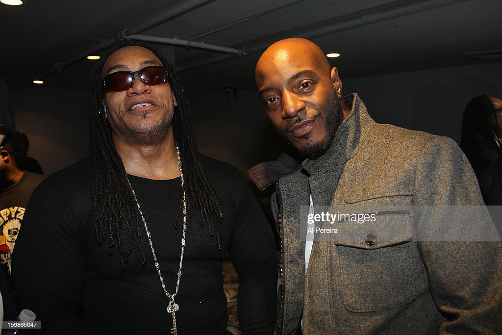 Grandmaster Melle Mel and Raheim of Granmastrer Flash and the Furious Five backstage during The Million Man Mosh II at the Highline Ballroom on January 21, 2013 in New York City.