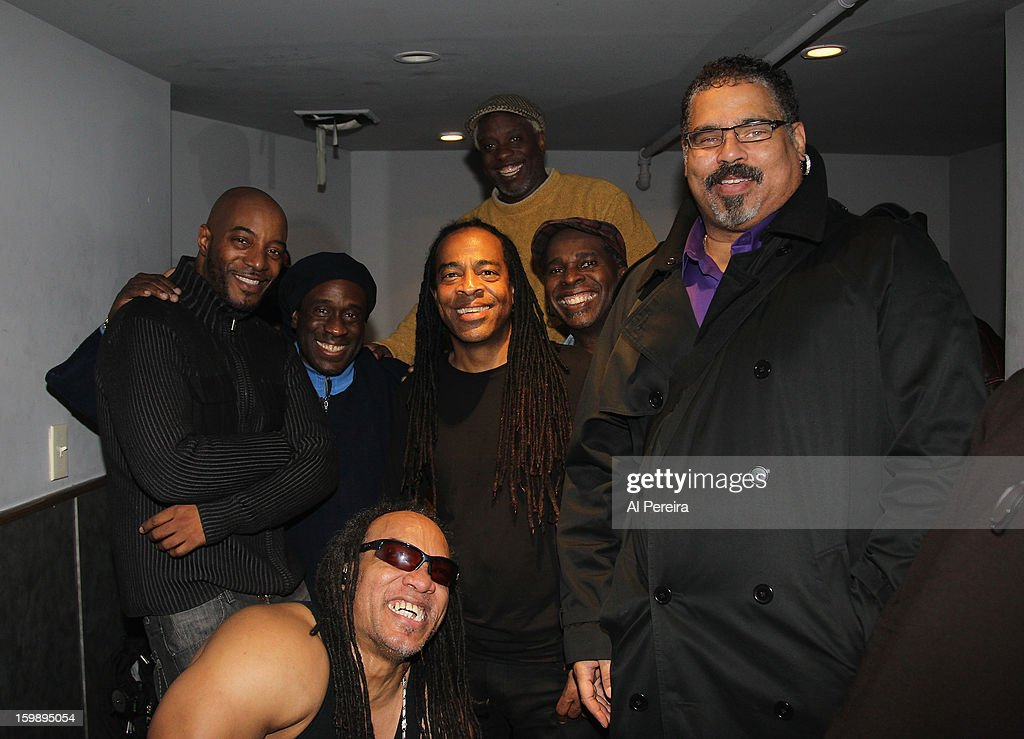 Grandmaster Melle Mel and Raheim of Granmastrer Flash and the Furious Five and Wonder Mike of The Sugar Hill Gang join Living Colour backstage during The Million Man Mosh II at the Highline Ballroom on January 21, 2013 in New York City.