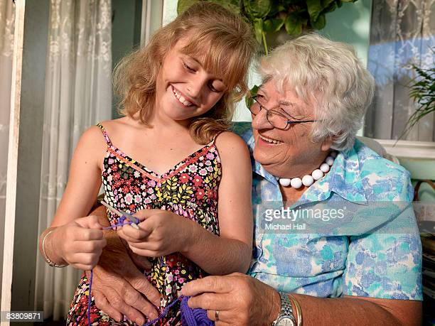 Grandmother and grand Daughter knitting