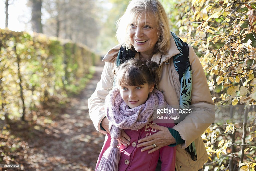grandmother and granddaughter in the park : Stock Photo