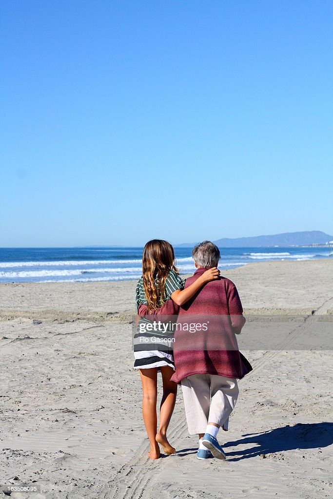 Grandmother and Granddaughter Walking Together : Stock Photo