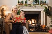 Grandmother and grandson at Christmas