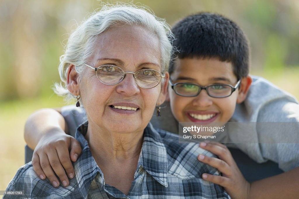 Grandmother and grandson : Stock Photo